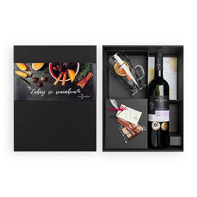 HOT WINE SET dárková sada červeného vína, koření na svařák a hrnku, Vícebarevná - multicolor