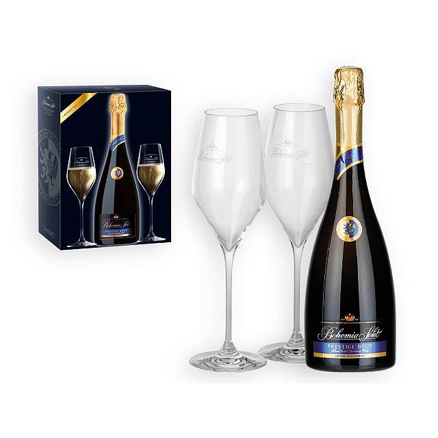 BOHEMIA SEKT PRESTIGE BRUT sekt 750 ml + 2 skleničky v dárkové krabici, BOHEMIA SEKT, Vícebarevná - multicolor