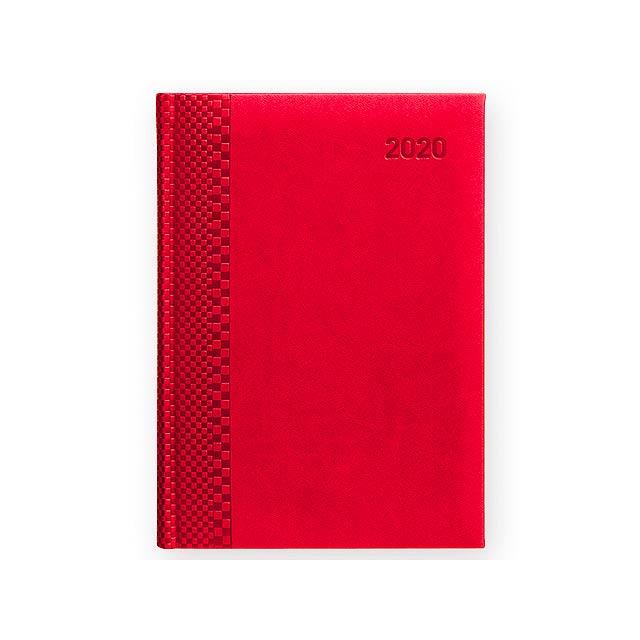 TUCSON týdenní A5, kombinované kalendárium, Červená - červená
