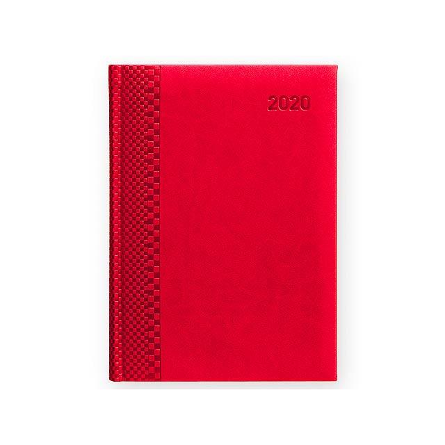 TUCSON denní A5 CZ 2020 - Diář s blokem papíru bílé barvy. - červená