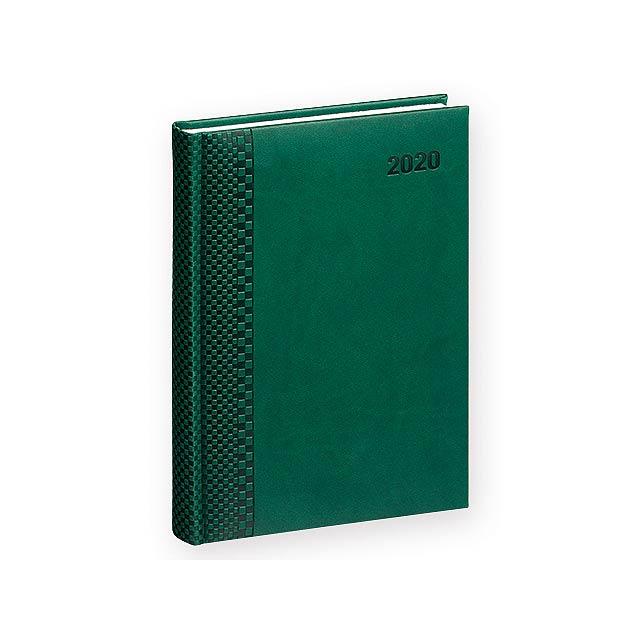 TUCSON denní A5 CZ 2020 - Diář s blokem papíru bílé barvy. - zelená
