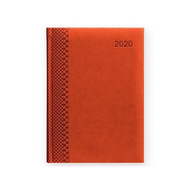TUCSON denní A5 CZ 2020 - Diář s blokem papíru bílé barvy. - hnědá