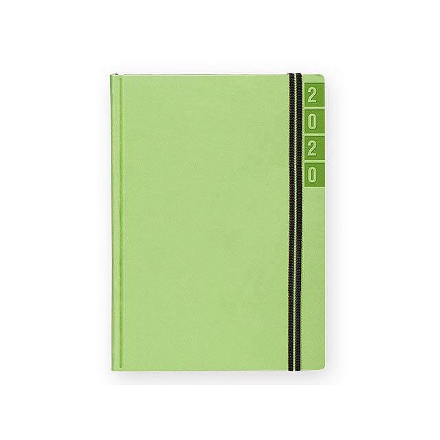 BANDY diář kapesní vertikální, Světle zelená - zelená