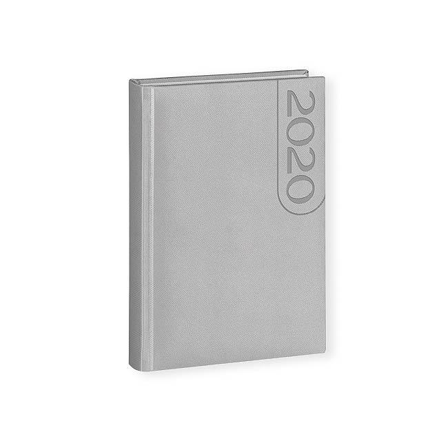 TEXO diář, kapesní vertikální, Stříbrná - stříbrná