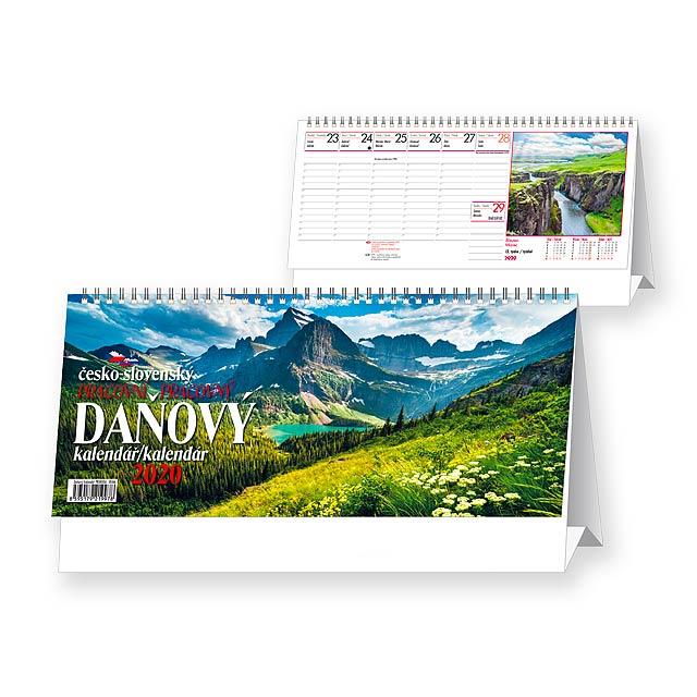 DAŇOVÝ KALENDÁŘ/KALENDÁR Stolní kalendář - československé kalendárium, 32x17,5 cm - multicolor