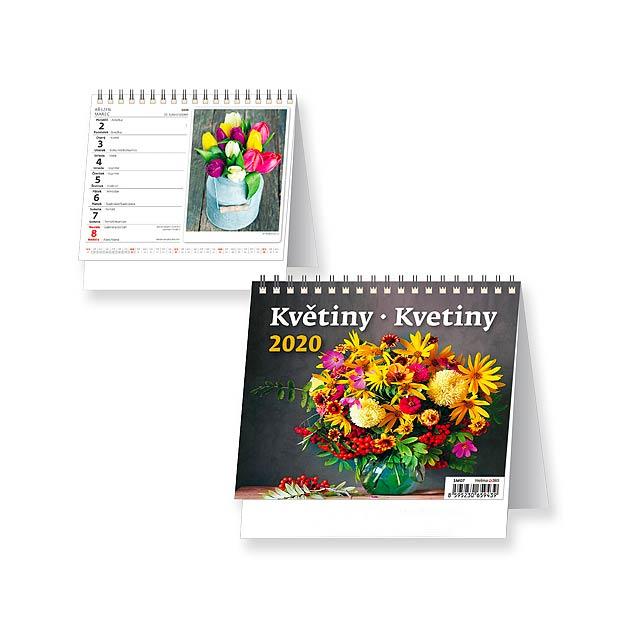 KVĚTINY/KVETINY Stolní kalendář - československé kalendárium, 17,1x16,9 cm - multicolor