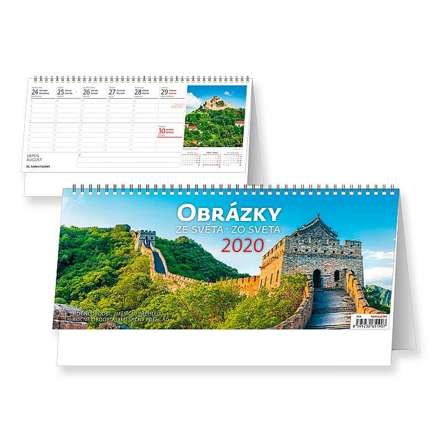 OBRÁZKY ZE SVĚTA/ZO SVETA Stolní kalendář - československé kalendárium, 32,1x13,4 cm - multicolor
