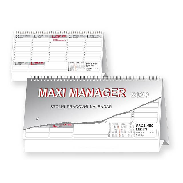 MAXI MANAGER 2020 - Stolní pracovní kalendář. - multicolor