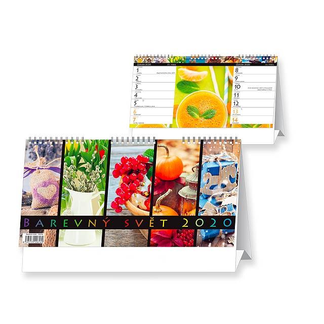 BAREVNÝ SVĚT 2018 - Stolní čtrnáctidenní kalendář. - multicolor