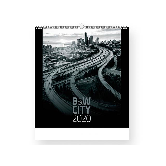 B&W CITY - Wall calendar, 13 sheets. - multicolor