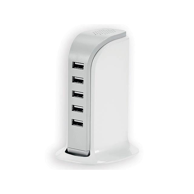 USBAN síťová nabíjecí stanice s 5 USB porty, Bílá - bílá
