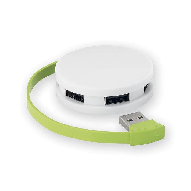 METY plastový USB rozbočovač 2.0, Světle zelená - zelená