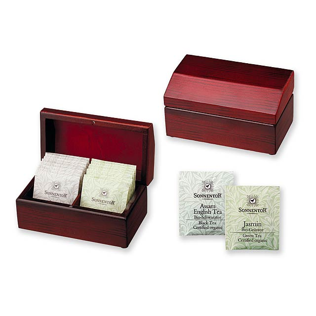 STEAM - Set of tea bags in wooden gift box. Includes 2x 8 pcs of Sonnentor bioquality teabags –  jasmine green tea, English Assam black tea. -