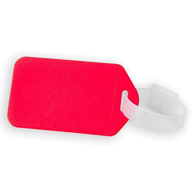 FOLKE plastová jmenovka na zavazadlo, Červená - červená