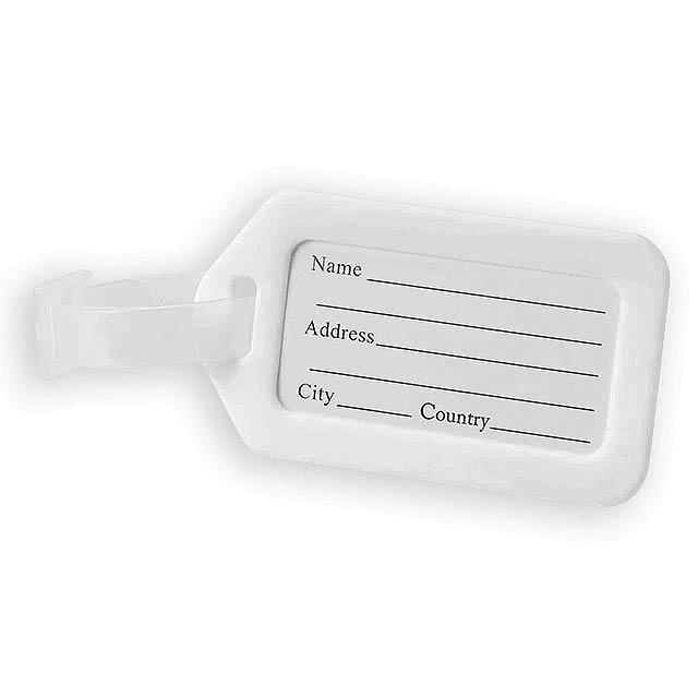 FOLKE plastová jmenovka na zavazadlo, Bílá - bílá