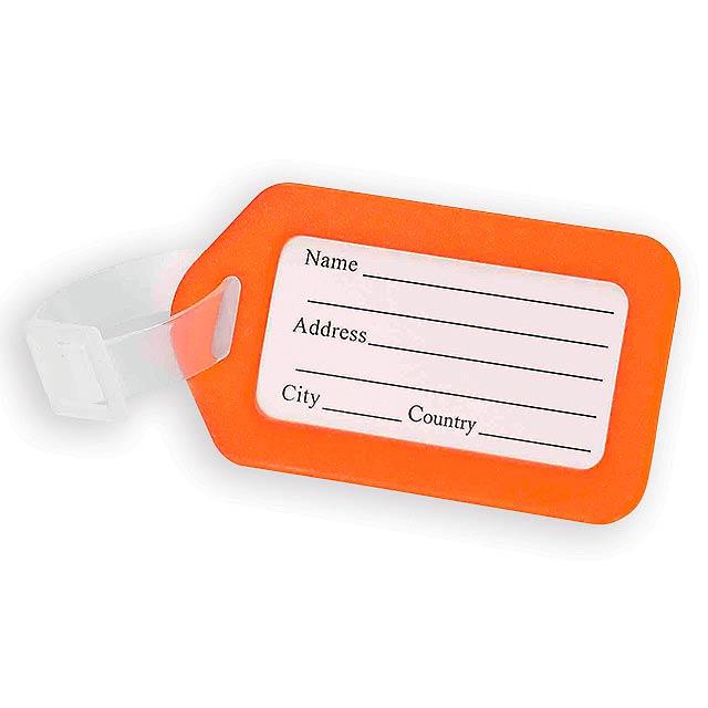 FOLKE plastová jmenovka na zavazadlo, Oranžová - oranžová