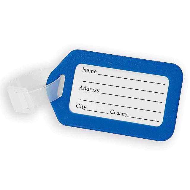 Folk plastová menovka na batožinu, Kráľovská modrá - modrá