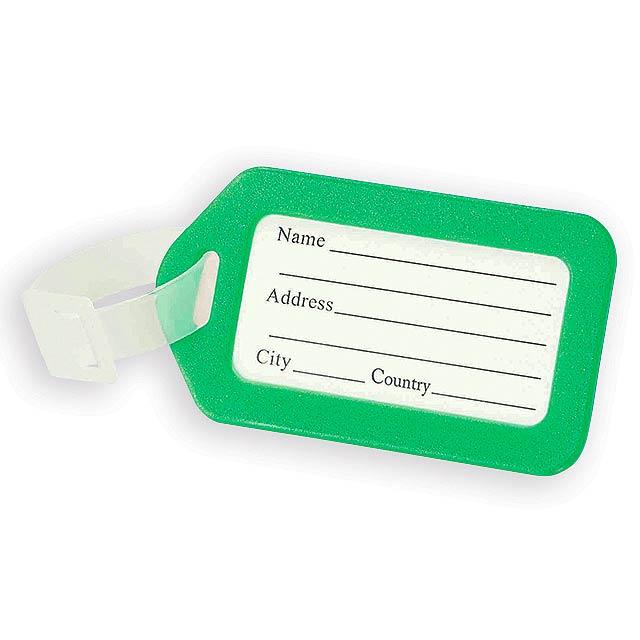 FOLKE plastová jmenovka na zavazadlo, Světle zelená - zelená