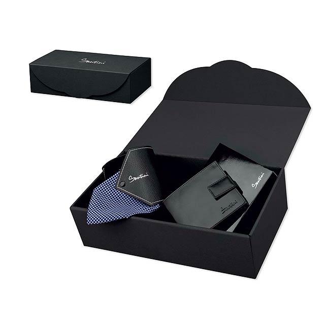 QUARDO SET sada peneženky a kravaty v dárkové krabici, SANTINI - multicolor