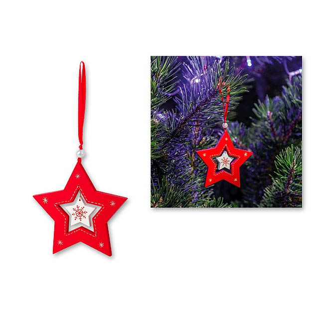 STAR CHARM - Wooden Christmas hanging decoration. - red