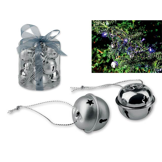 ROLLS - Metal Christmas decoration, jingle bells, 12 pcs. - silver