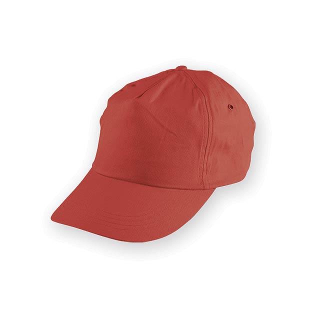 TIWI polyesterová baseballová čepice, 5 panelů, Červená - červená