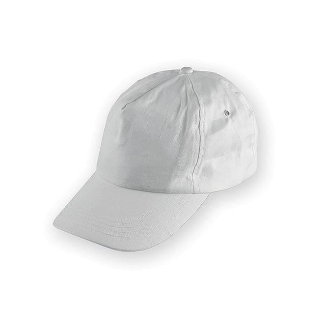TIWI polyesterová baseballová čepice, 5 panelů, Bílá - bílá