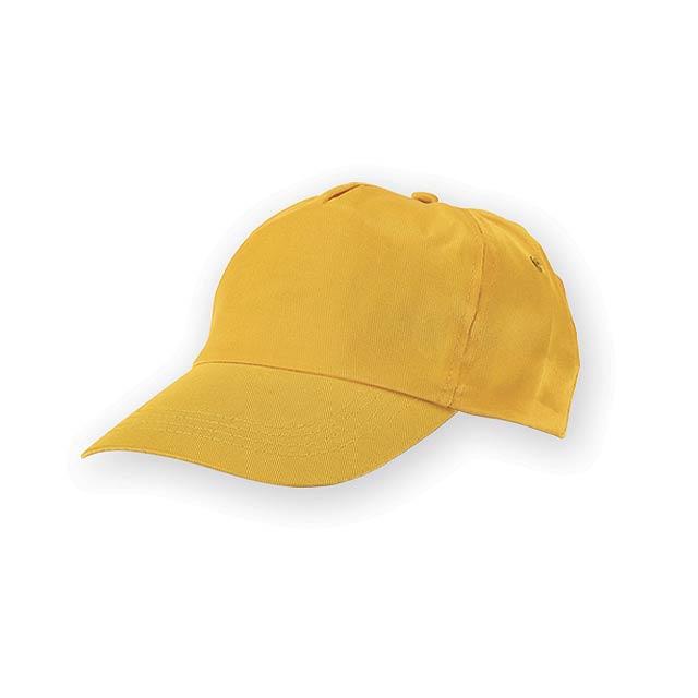TIWI polyesterová baseballová čepice, 5 panelů, Žlutá - žlutá
