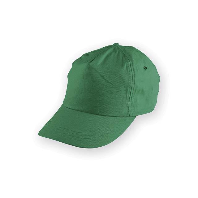TIWI polyesterová baseballová čepice, 5 panelů, Zelená - zelená