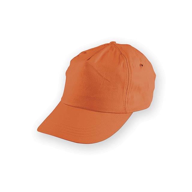 TIWI polyesterová baseballová čepice, 5 panelů, Oranžová - oranžová