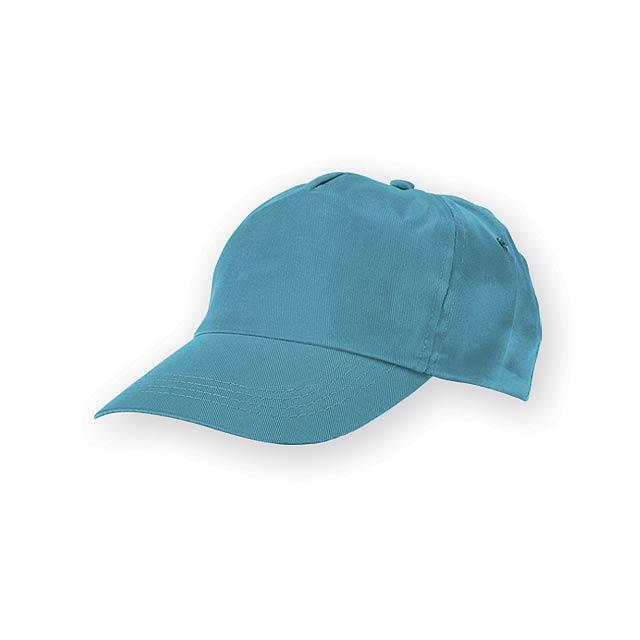 TIWI polyesterová baseballová čepice, 5 panelů, Světle modrá - modrá