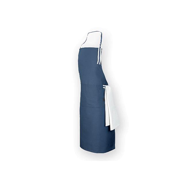 GINGER dlouhá zástěra z bavlny a polyesteru, 150 g/m2, Modrá - modrá