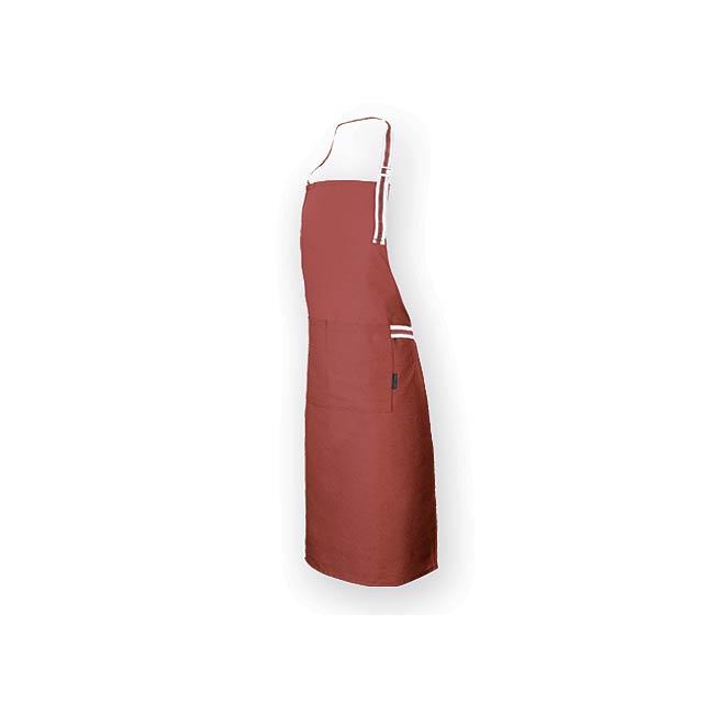GINGER dlouhá zástěra z bavlny a polyesteru, 150 g/m2, Červená - červená