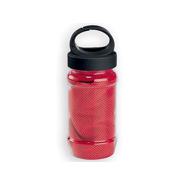KALISTO chladící ručník v plastové sportovní lahvi, Červená - červená