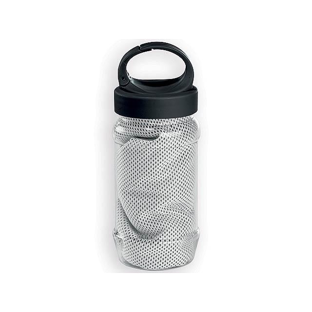 KALISTO chladící ručník v plastové sportovní lahvi, Bílá - bílá