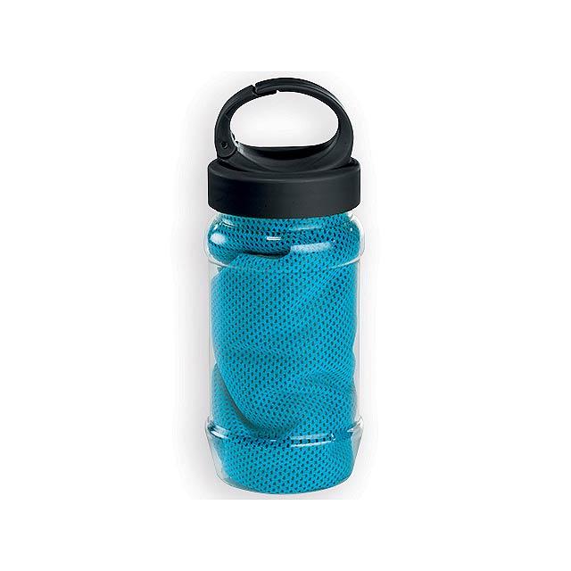 KALISTO chladící ručník v plastové sportovní lahvi, Světle modrá - modrá