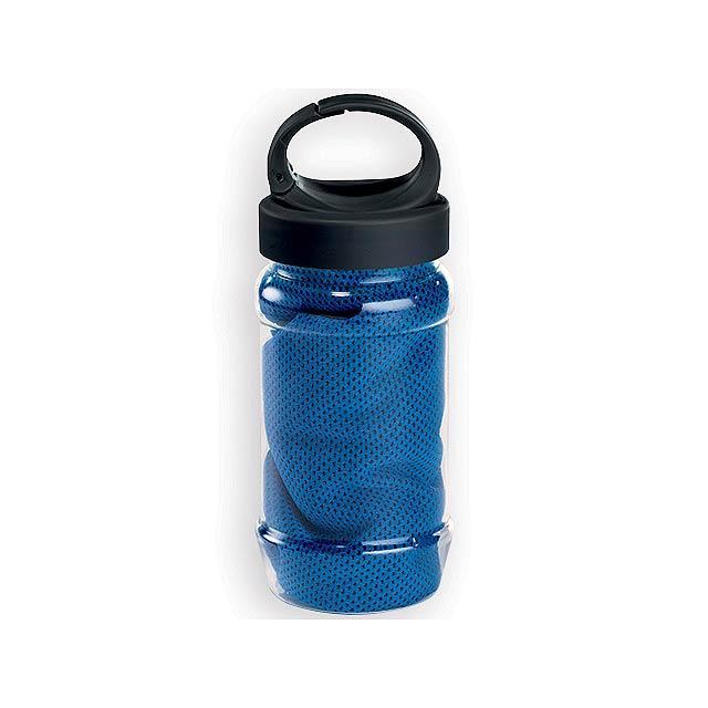 KALISTO chladící ručník v plastové sportovní lahvi, Královská modrá - modrá
