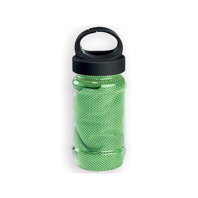 KALISTO chladící ručník v plastové sportovní lahvi, Limetkově zelená - zelená