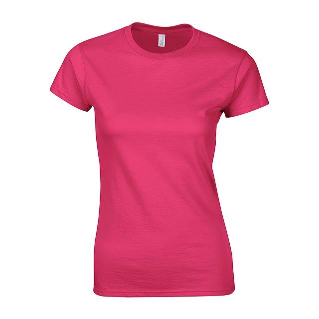 Dámské tričko s kulatým výstřihem ze 100% prstencově spřádané bavlny, 153 g/m² (bílé 144 g/m²). - růžová - foto