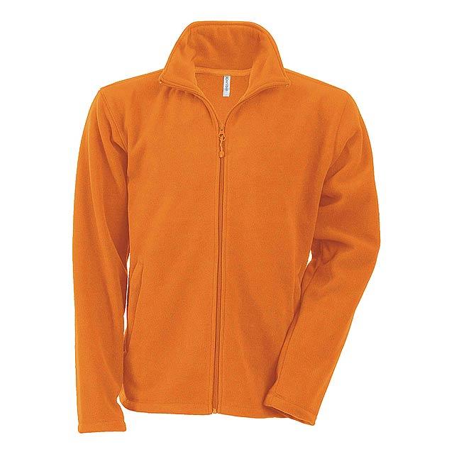Fleecová bunda ze 100% polyesteru s protižmolkující úpravou, s kapsami na zip, 300 g/m². - oranžová - foto