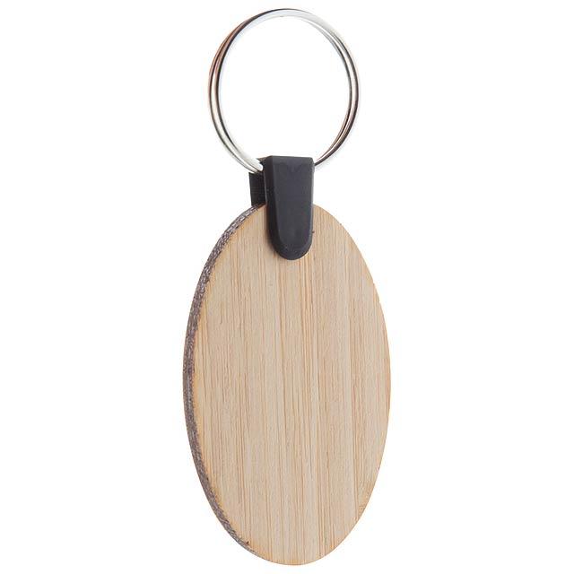 Bambry oválný přívěšek na klíče z bambusu - dřevo