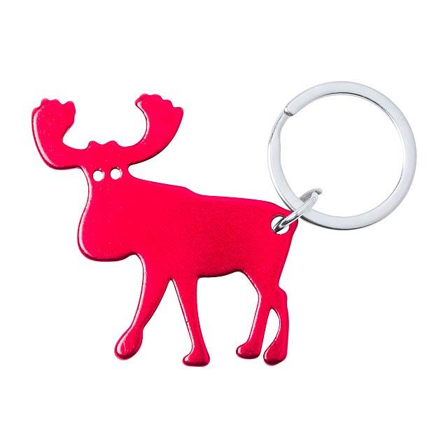 Pudox přívěšek na klíče s otvírákem - červená