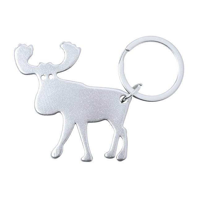 Pudox přívěšek na klíče s otvírákem - stříbrná