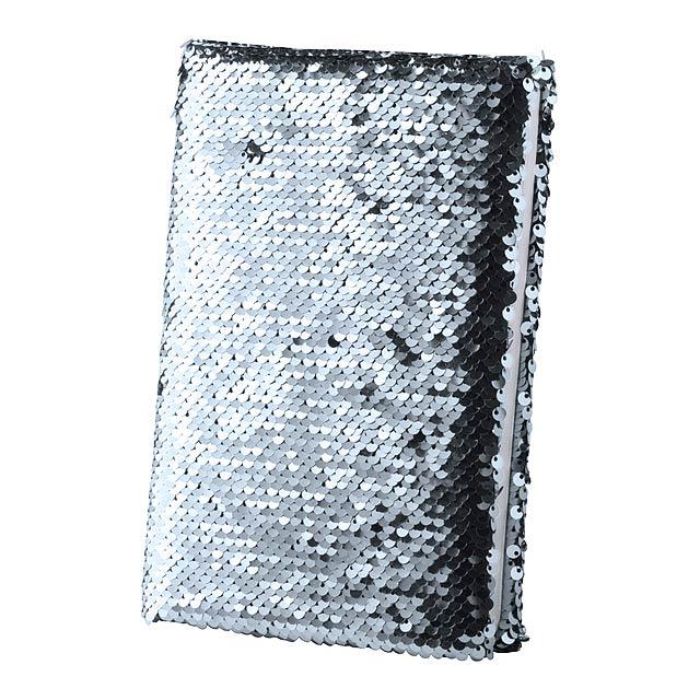 Blok B7 s polyesterovými deskami s flitry, 80 listy a stejně barevnou záložkou. - stříbrná - foto