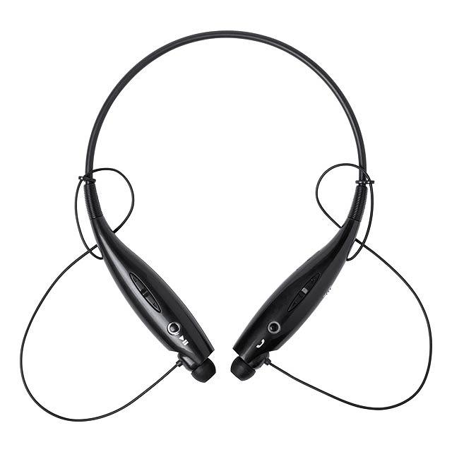 Bluetooth sluchátka do uší s funkcí handsfree a vestavěnou dobíjecí baterií. S USB nabíjecím kabelem. - černá - foto