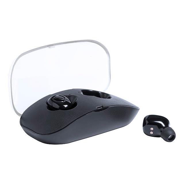 Bezdrátová sluchátka s připojením bluetooth. Včetně nabíjecího USB kabelu. - černá - foto