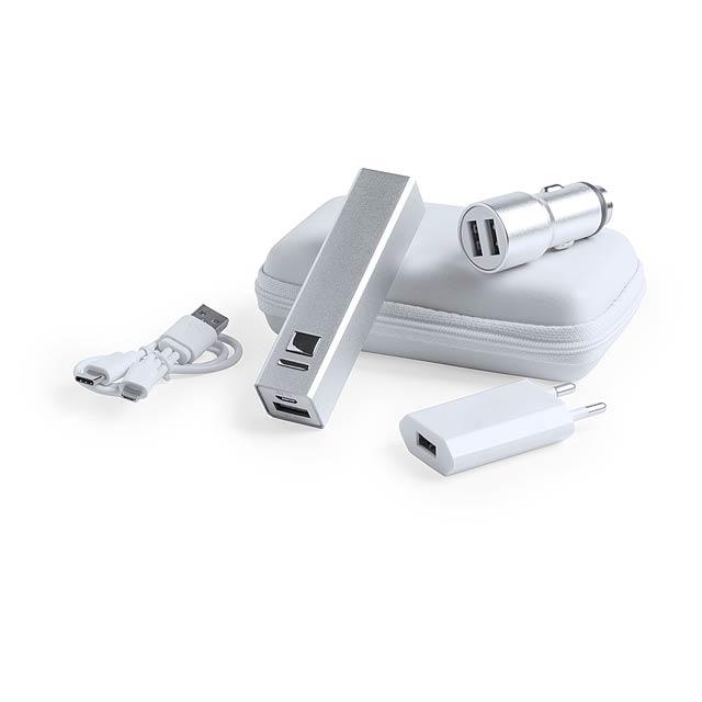 Tilmix sada USB nabíječky a power banky - stříbrná