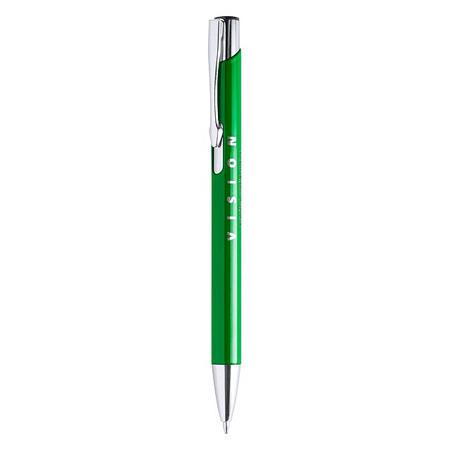 Hliníkové kuličkové pero s modrou náplní. - zelená - foto
