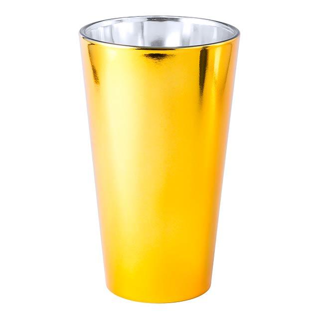Metalicky barevná keramická sklenice, 480 ml. Speciální povrch pro gravír a sublimační potisk. Obsah: 480 ml - zlatá - foto