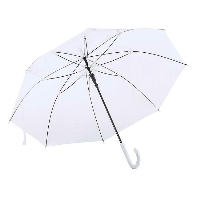 Automatický transparetní deštník s 8 panely a barevným držadlem. - bílá - foto